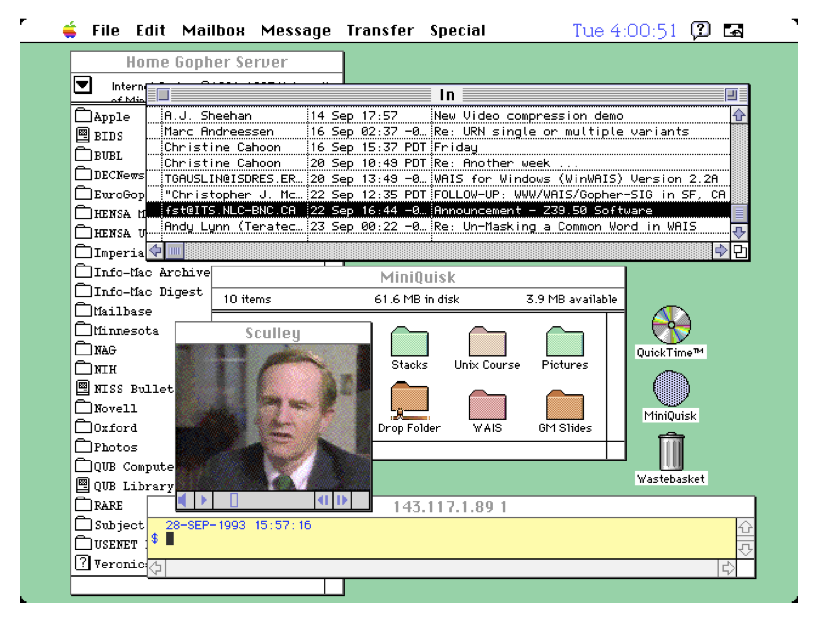 Screen shot, desktop computer, 1993