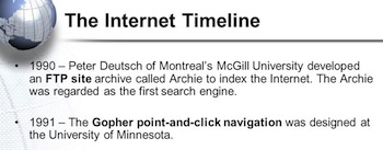 Early internet services timeline